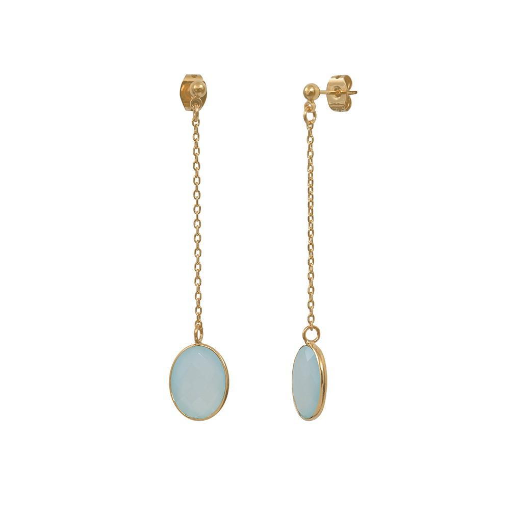 Boucles d'oreilles longues dorées Calcédoine Bleue Serti GM