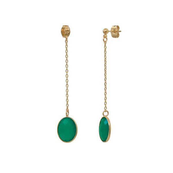 Boucles d'oreilles longues dorées Quartz Vert Serti GM