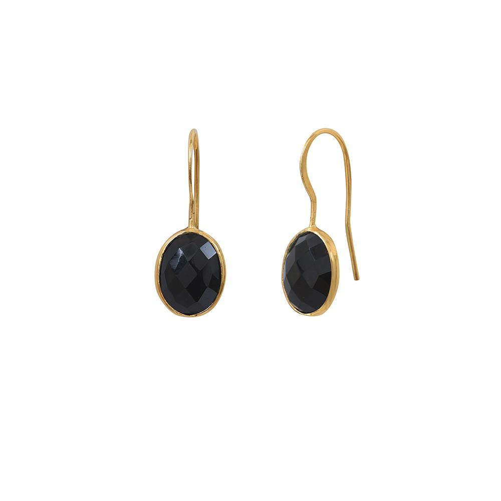 Boucles d'oreilles dorées Onyx Serti GM
