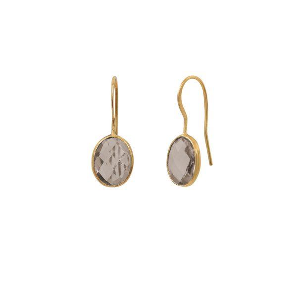 Boucles d'oreilles dorées Quartz Fumé Serti GM