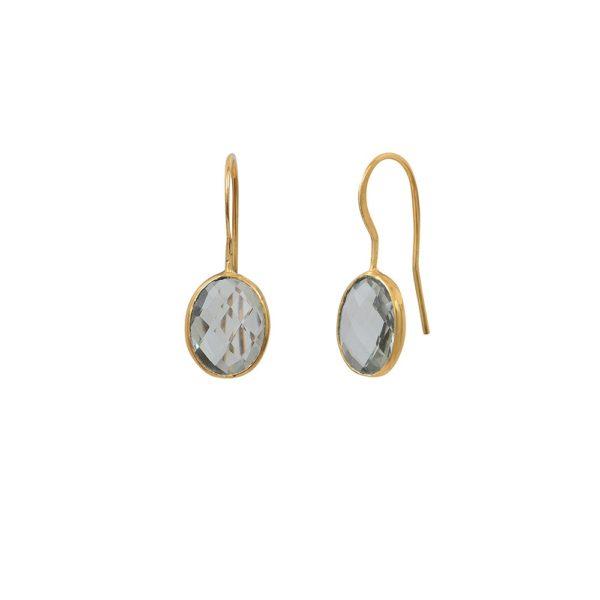 Boucles d'oreilles dorées Améthyste Verte Serti GM