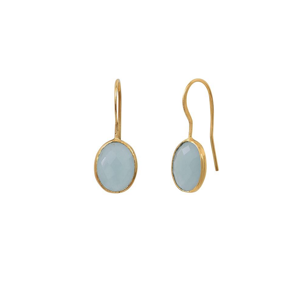 Boucles d'oreilles dorées Calcédoine Bleue Serti GM