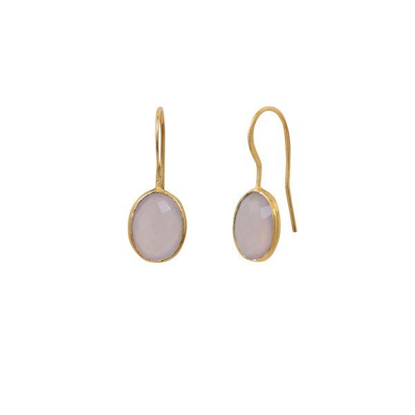 Boucles d'oreilles dorées Calcédoine Rose Serti GM