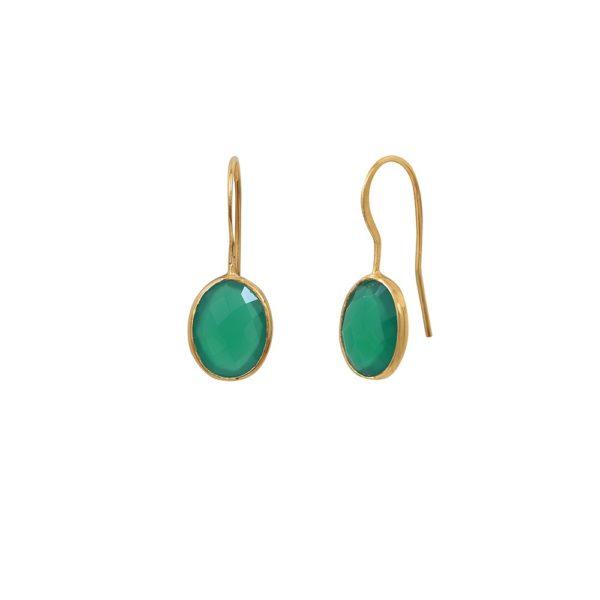 Boucles d'oreilles dorées Quartz Vert Serti GM