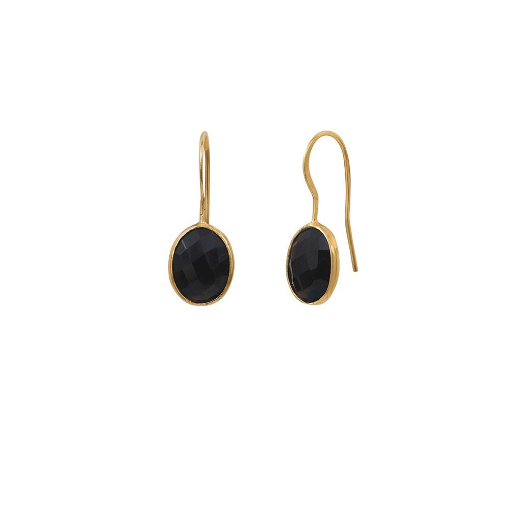 Boucles d'oreilles dorées Onyx Serti PM