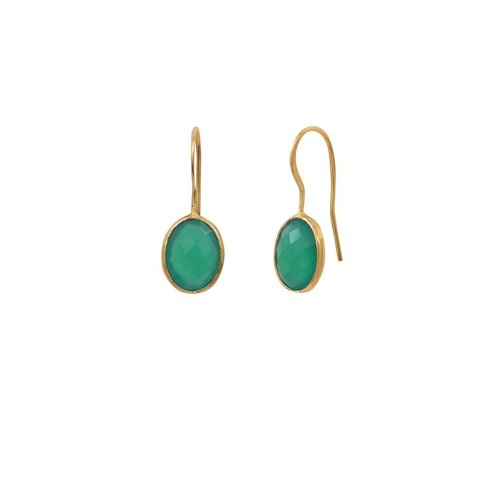 Boucles d'oreilles dorées Quartz Vert Serti PM