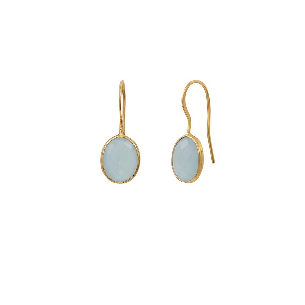 Boucles d'oreilles dorées Calcédoine Bleue Serti PM