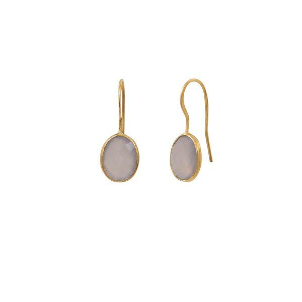 Boucles d'oreilles dorées Calcédoine Rose Serti PM