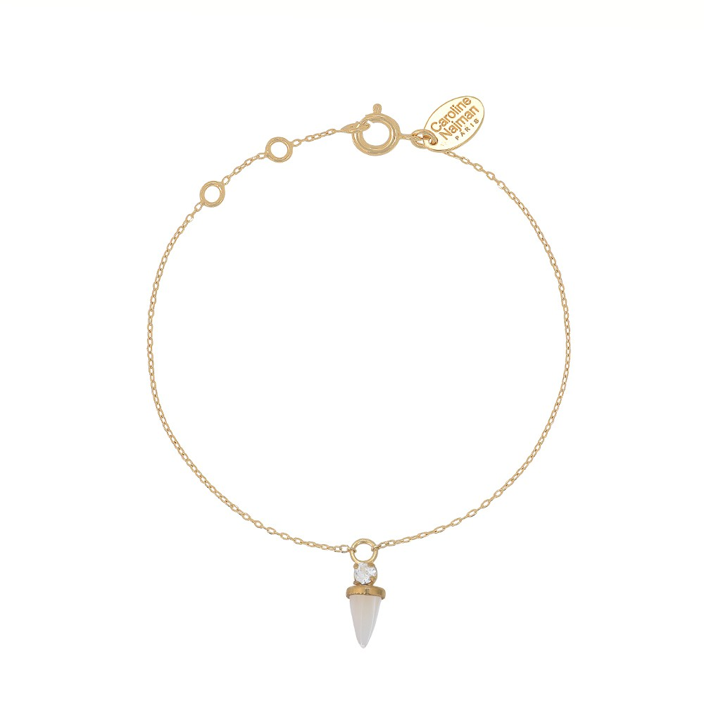 Bracelet doré Nacre Blanche Sharp