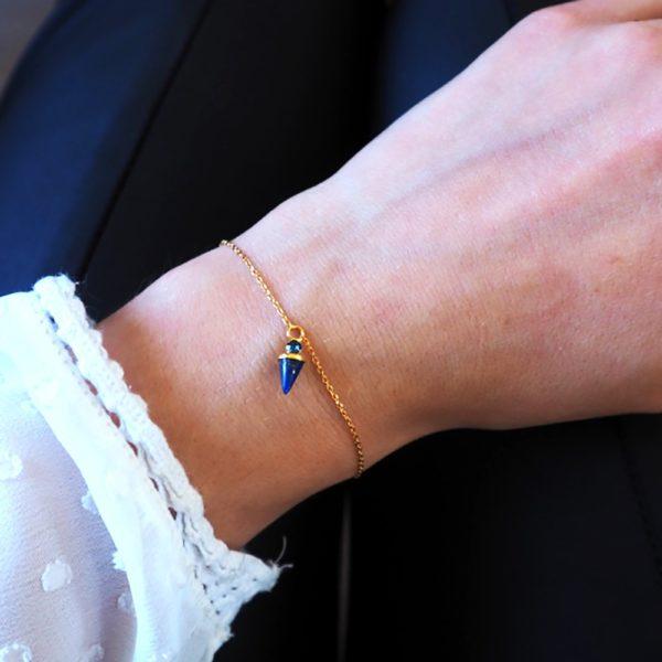Bracelet doré Lapis Lazuli Sharp
