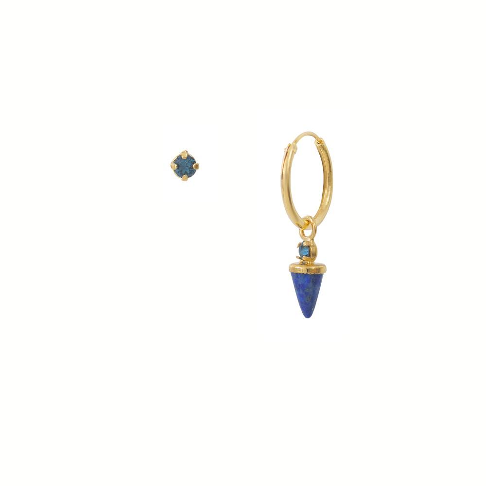 Créole dorée unique Lapis Lazuli Sharp