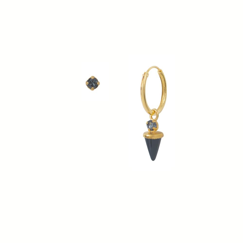 Créole dorée unique Onyx Sharp