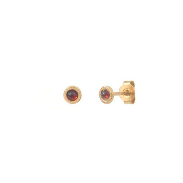 Boucles d'oreilles puces dorées Grenat Tiny