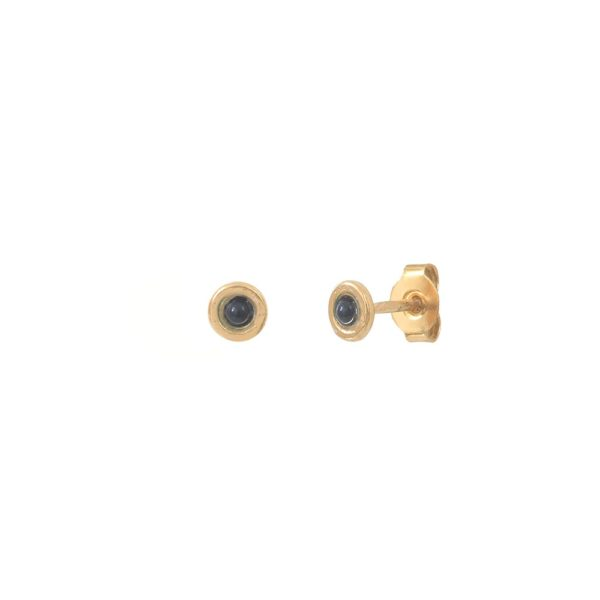Boucles d'oreilles puces dorées Onyx Tiny