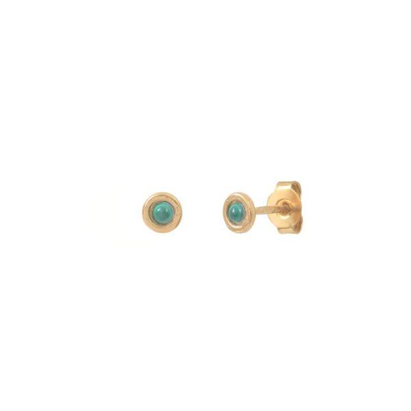 Boucles d'oreilles puces dorées Malachite Tiny