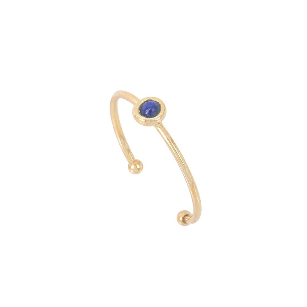 Bague ajustable dorée Lapis Lazuli Tiny