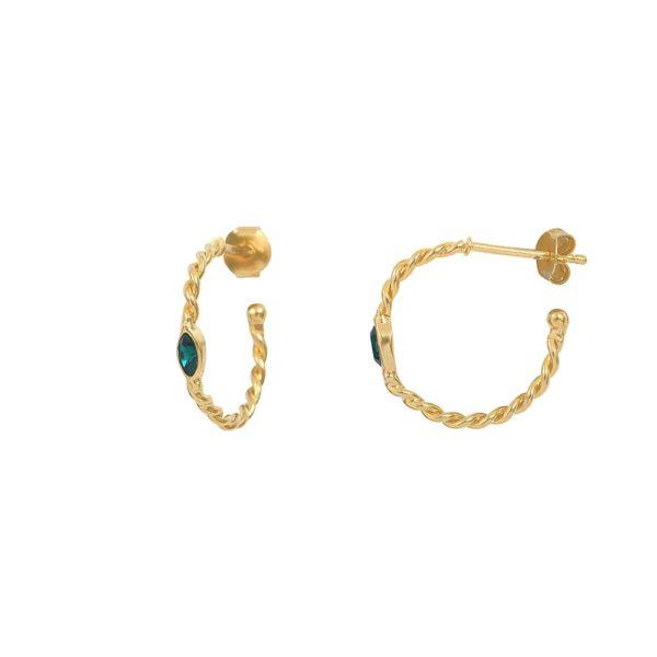 Créoles dorées Emerald Twist Navette